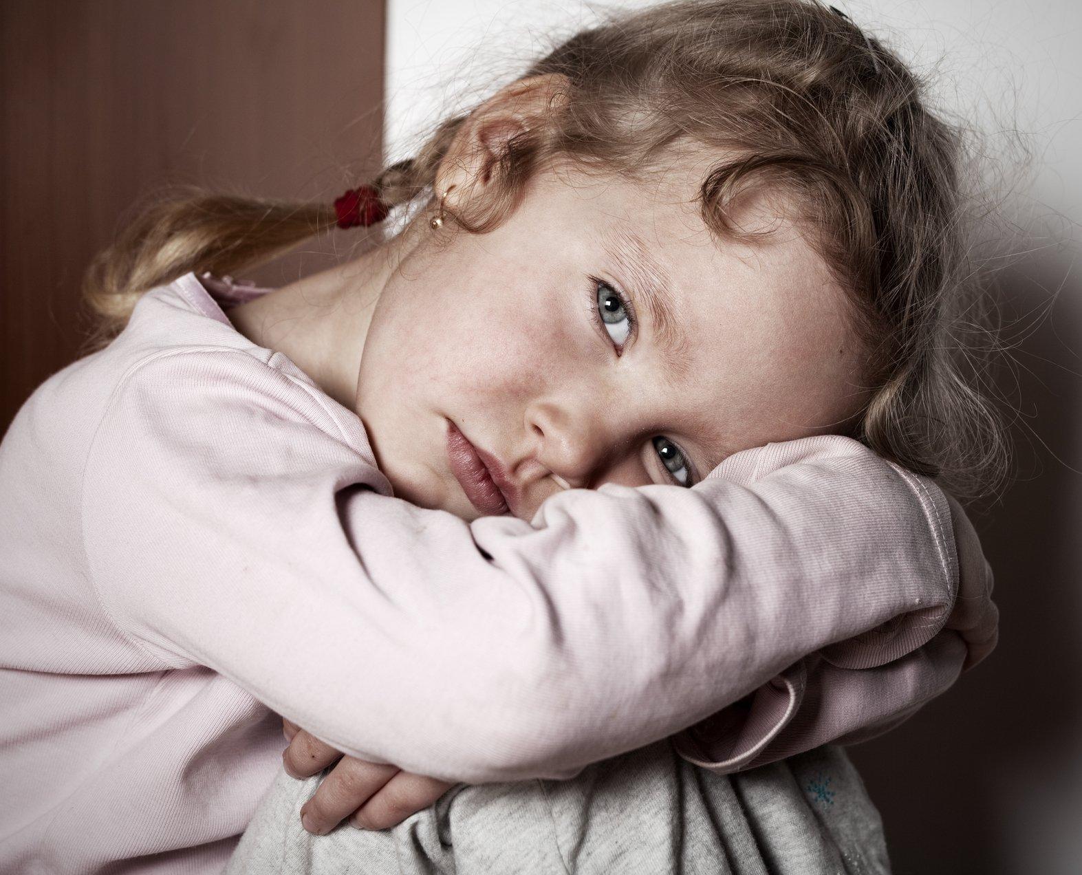 Sad littl girl. Child's problems